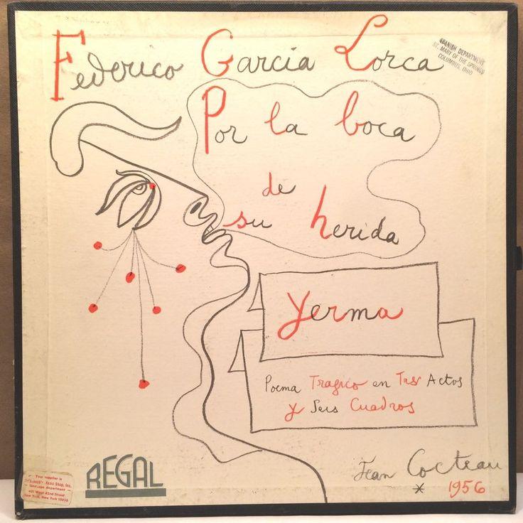"JEAN COCTEAU ART COVER BOX 12"" FREDERICO GARCIA LORCA  ,YERMA ,SPAIN REGAL 1956"