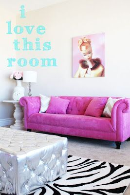 because every girl should have a hot pink couch and a barbie