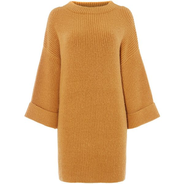 Long Knitted Jumper (1.700 RUB) ❤ liked on Polyvore featuring tops, sweaters, dresses, beige top, jumper tops, beige sweater, long length sweaters and long jumpers
