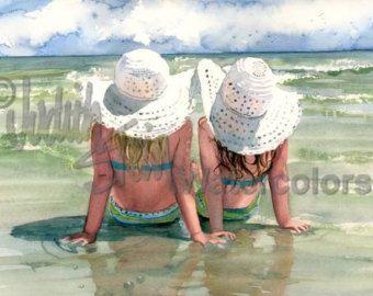 « Plage Breeze » est un Open Edition Giclee Art Print dune aquarelle avec une jeune fille assise sur la plage en regardant les mouettes. Il sagit dune belle journée venteuse de sasseoir sur les bords de la mer et de laisser le sable chaud de vos pieds nus. Cette jeune miss ne peut pas attendre le jour que cest juste un peu plus chaud pour une baignade dans les vagues de locéan. Cette brise de printemps est toujours un peu trop froid pour un maillot de bain, mais dans environ un mois…