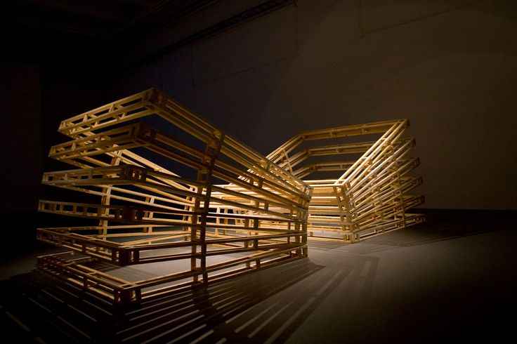 the Continuing Studies of Space: the Twin Piece.> Pine Wood, 2times 200x200x170cm Exhibited at: Gallery Konsthögskolan, Umeå Sweden