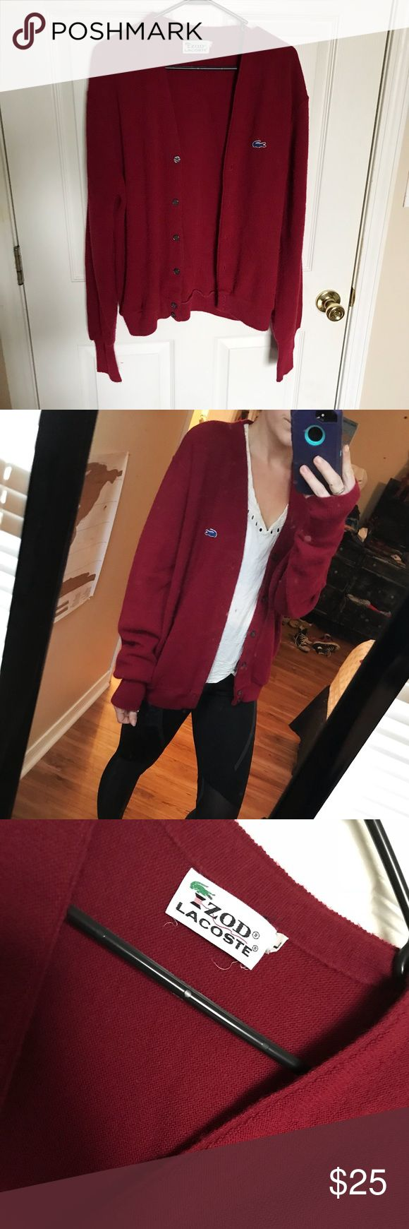 Vintage Lacoste cardigan Vintage maroon colored cardigan from Lacoste, size large but fits like a medium!   No holes or stains. No trades. Bundle for discounts!  Or shoot me an offer!! Lacoste Sweaters Cardigans