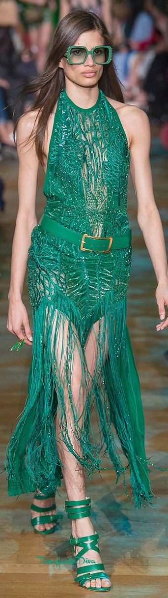 Elie Saab Spring 2018 RTW emerald green evening gown with fringes