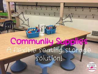 community supplies - a solution for students organization with flexible seating in upper elementary