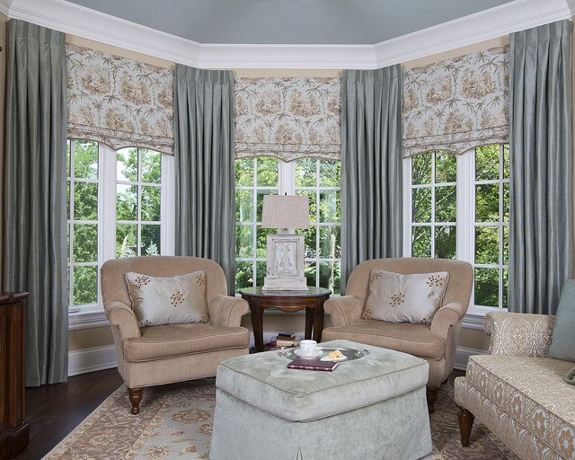 bay window floating panels with inverted pleats and shaped shades - Curtain Ideas For Living Room Bay Window