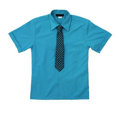 Boys-Short-Sleeve-Dress-Shirt-with-Tie-Set-Sizes-2T-to-14