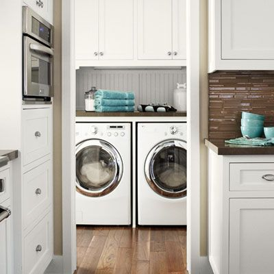 On the first floor   Pros: Near where most other house-keeping chores 