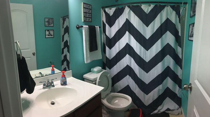 Boys' bathroom, black white & Tiffany blue, chevron curtain, bathroom decor