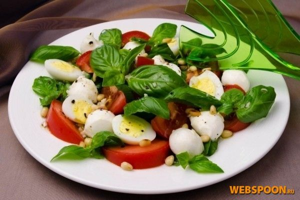 Салат с помидорами и базиликом рецепт с фото