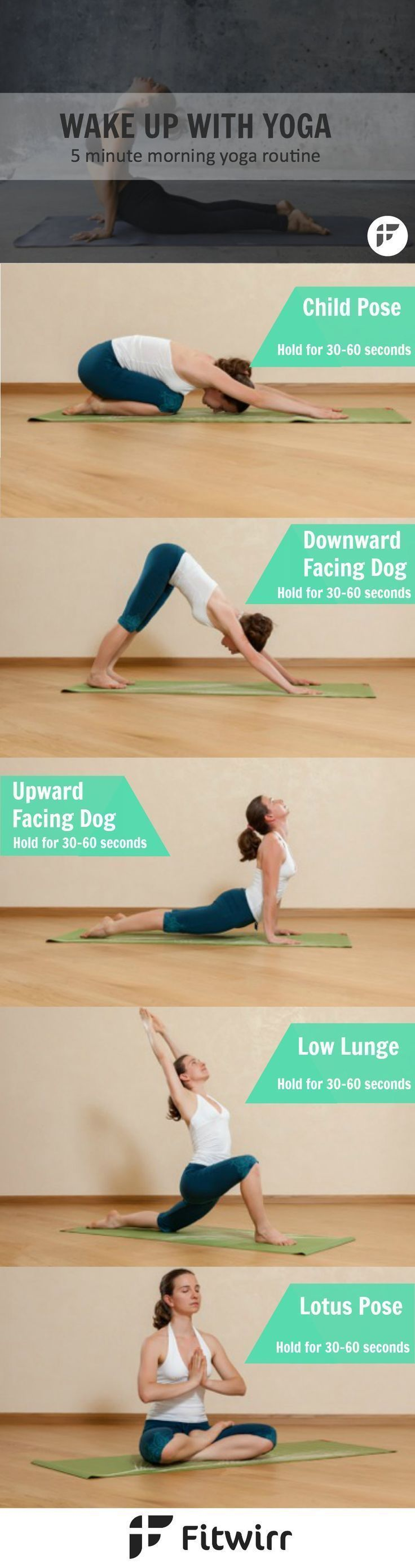 5-Minute Morning Yoga Routine to start your day with a calm and clear mind. Yoga for beginners. (Pinterest: @OneTribeApparel)