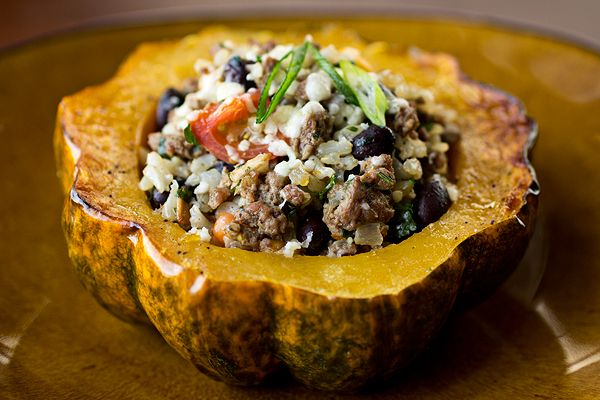 Roasted & Stuffed Acorn Squash with Lean Ground Beef, Brown Rice, Black Beans and spices