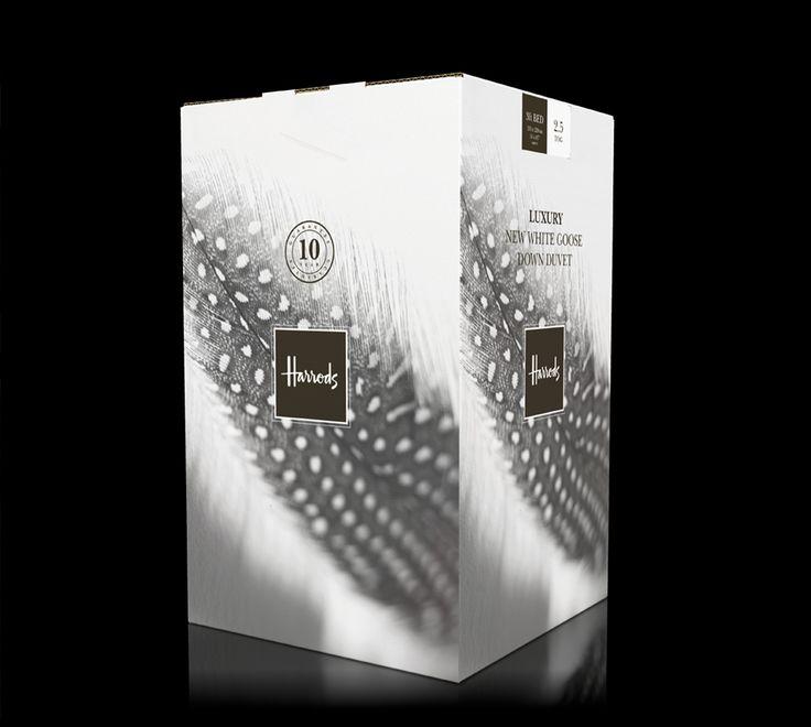 Luxury goose down duvet box graphics for Harrods - designed by Paul Cartwright Branding.