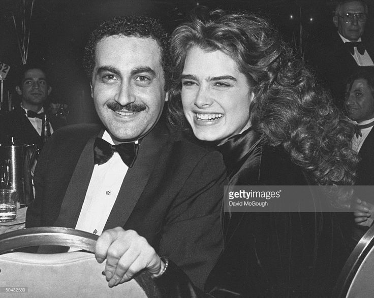 Wealthy Egyptian film producer Dodi Fayed w. date, actress Brooke Shields, at the Hilton Hotel following the taping of Night of 100 Stars II.