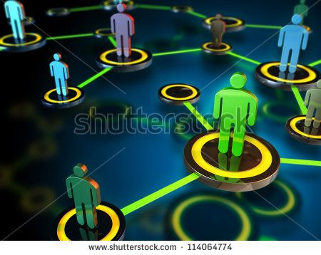 Digital network connecting many different people. Digital illustration.