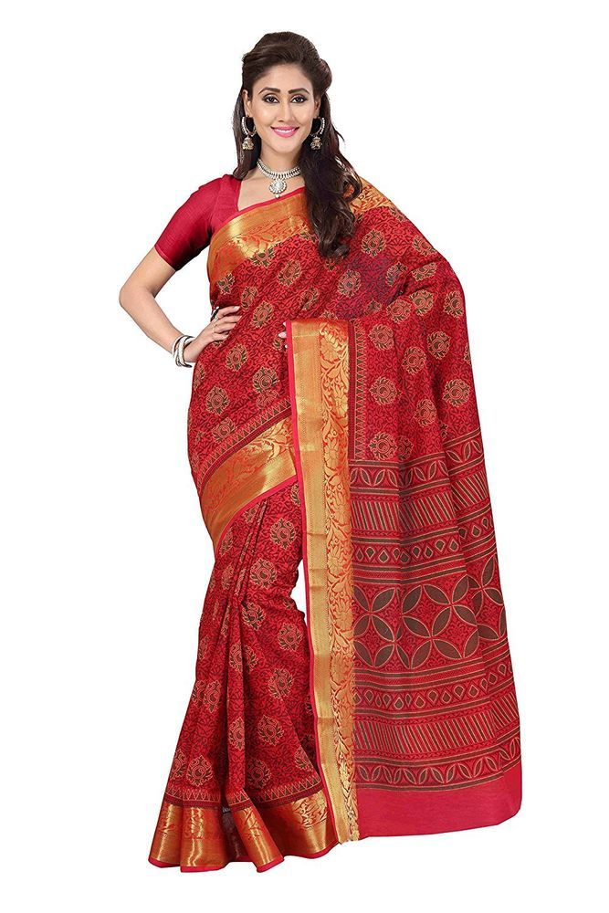bf44164adb22e7 Indian Eligent Women Poly Cotton Red Saree Party Wear Saris With Blouse  Piece #fashion #clothing #shoes #accessories #worldtraditionalclothing ...