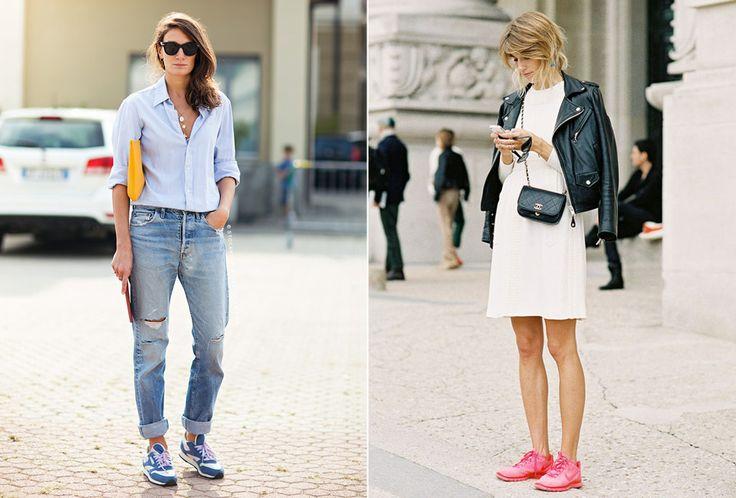 Retro-inspirerte sneakers gir en kul look til et par løse jeans og en stram skjorte, mens et par knallfargede sporty sko lyser opp et enkelt, elegant antrekk. Foto: CarolinesMode.com/StockholmStreetStyle / VanessaJackman.Blogspot.com
