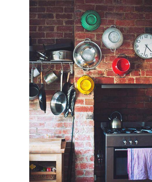 Rustic Kitchen Ovens: Brick Oven Surround, Pot Rack & Colanders