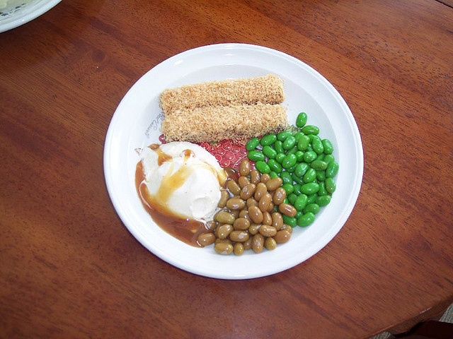 April Fool's Day dinner. Fishsticks are Kit Kat bars rolled in toasted coconut. Peas and beans are jelly bellies, and the potatoes are really vanilla ice cream with carmel sauce!