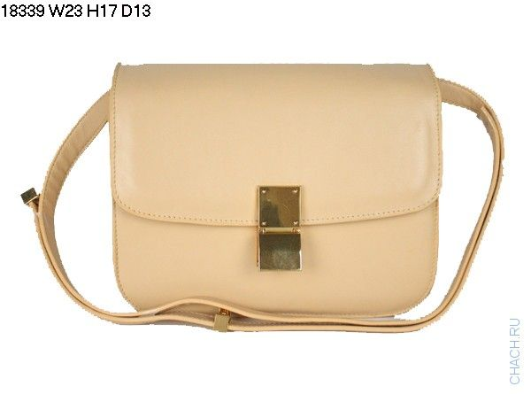 Кожаная сумка Celine (Селин) classic box bag бежевого цвета