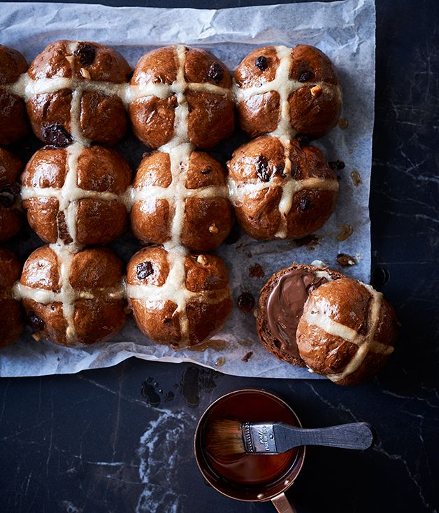 This winning combination of Easter's big treats (chocolate and hot-cross buns) is going to be snapped up very quickly. In the unlikely event of leftovers, serve them toasted.