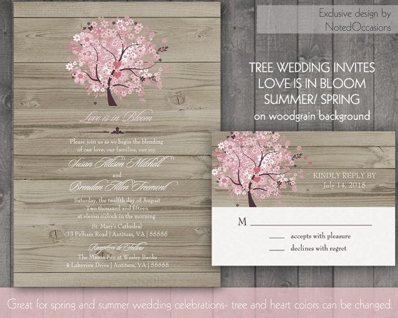 Oak Tree Wedding Invitations For Spring and Summer on wood grain | Custom wedding invitation- tree invitation-printable wedding invitation by NotedOccasions, $35.00