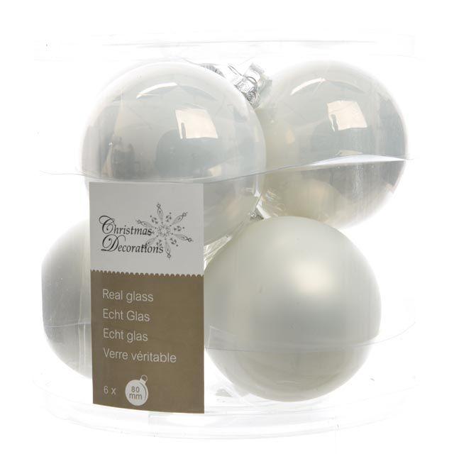 набор шаров стекло 80мм 6шт белый