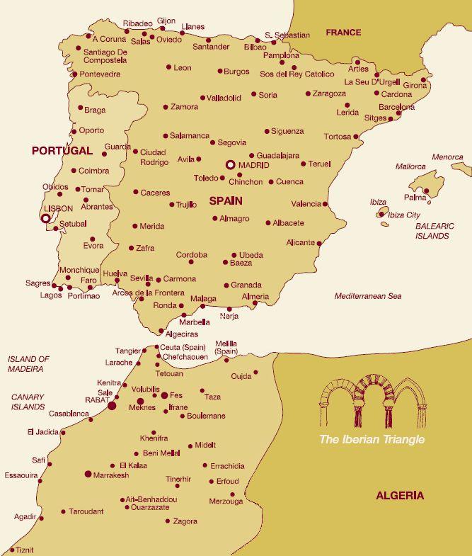 spain and morocco map islands, Mediterranean sea, strait of Gibraltar etc