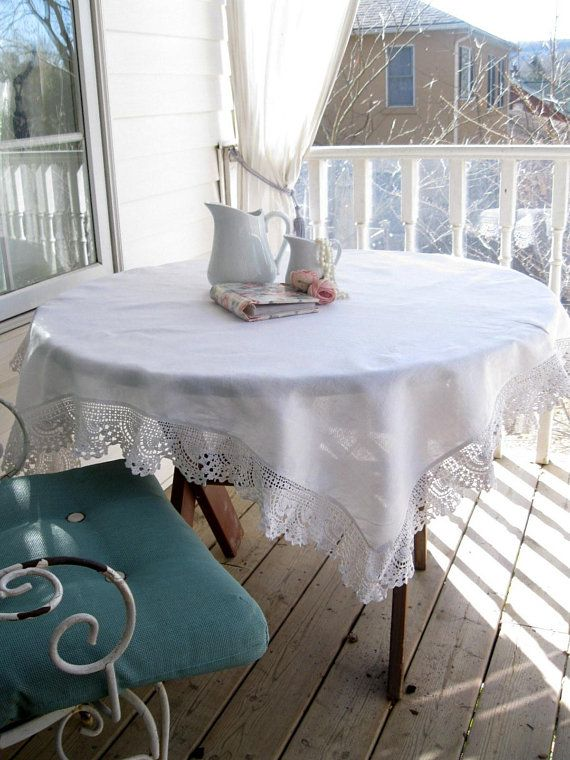 Tablecloth Linen Tablecloth Crochet Border Shabby French Table Cloth Linens And Lace Table Linens Dining