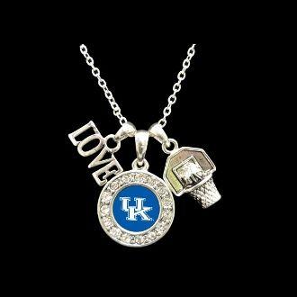 kentucky wildcats | Kentucky Wildcats 3 Charm Basketball Necklace
