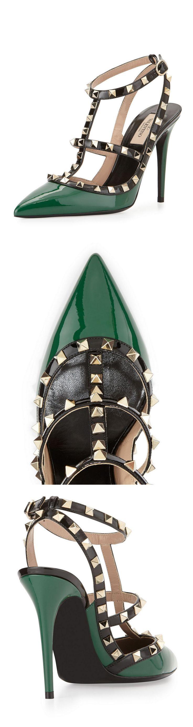 Valentino Rockstud Patent Leather Pump, Emerald Colorblock