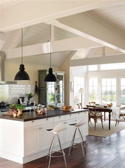 Las 25 mejores ideas sobre espacios abiertos en pinterest for Lamparas cocinas rusticas