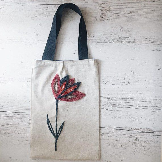 Flowers Tote Bag Personalized Embroidery Eco Bag Romantic Etsy