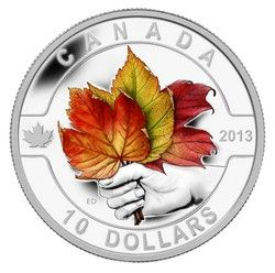 Royal Canadian Mint $10 2013 Fine Silver Coin - O Canada Series - Maple Leaf $54.95 #coin #coins #silver #colouredcoin #leaf #leaves #autumn #autumnleaves