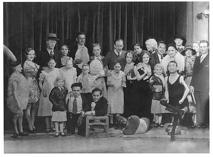Cast of Ted Browning freaks. 1932