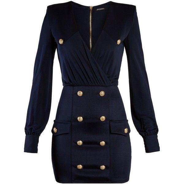 Balmain V-neck button-embellished jersey mini dress ($2,995) ❤ liked on Polyvore featuring dresses, navy, blue dresses, short wrap dress, blue gold dress, wrap dress and gold dresses