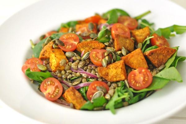 Puy Lentil & Sweet Potato Salad by www.atouchofzest.com