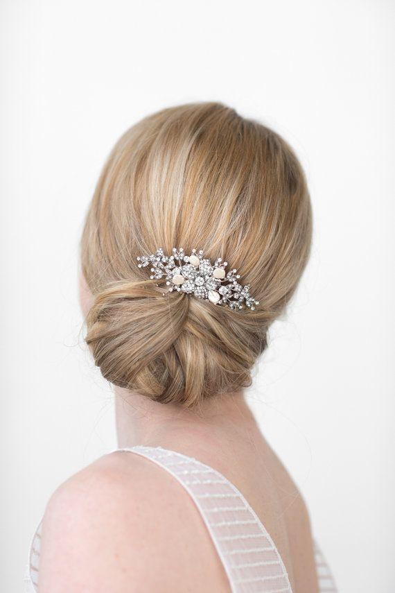 Peigne de cheveux mariage, mariée tête morceau, cristal et perle peigne, accessoire de cheveux de mariage