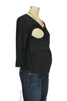 Luxe Jersey Cross Front Nursing Top (3/4 sleeve) in Black by Japanese Weekend with free shipping $46