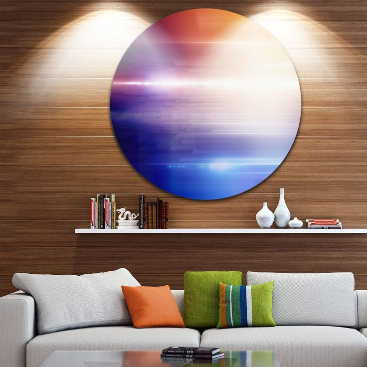 Designart 'Glowing Straight Lines' Abstract Digital Art Circle Wall Art