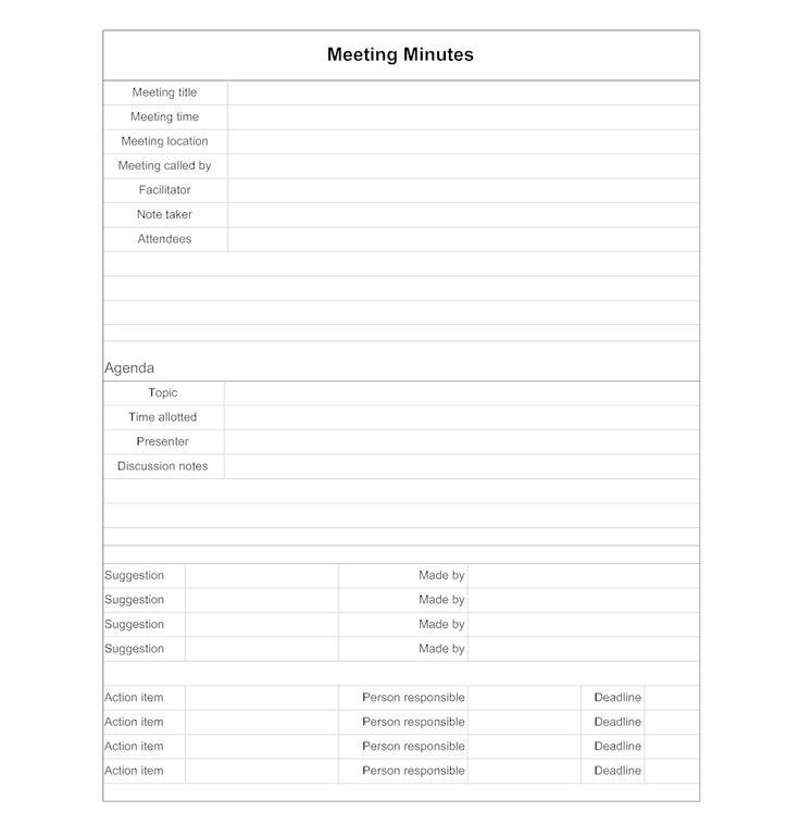 Meeting Minutes Template Excel | Word doc, Blank calendar ...