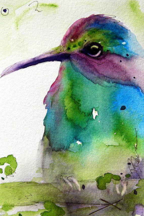 Arte de la acuarela del colibrí Imprimir