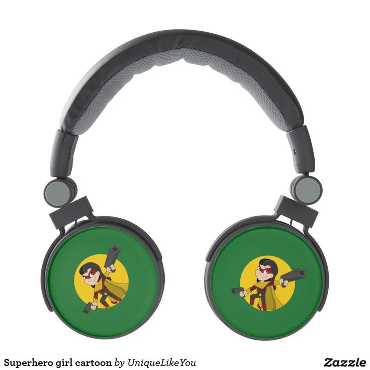 Superhero girl cartoon headphones