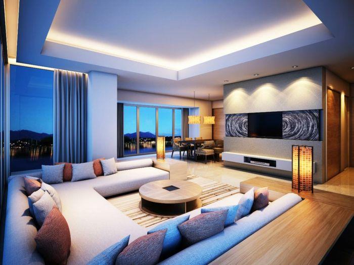 indirekte beleuchtung ideen wohnzimmer dekokissen runder couchtisch - Moderne Wohnzimmer