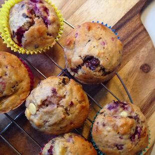 Oozy chocolate, raspberry & banana muffins