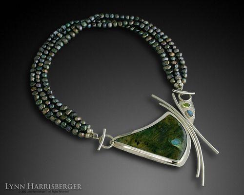 "Sterling Silver, Laboradorite & Freshwater Pearls ""Gulf Coast"" Necklace by Lynn Harrisberger."