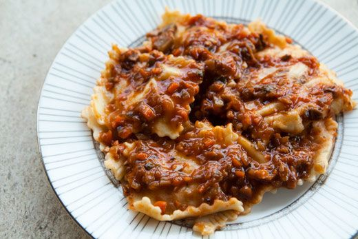 mushroom sugo sauce over ravioli, from simply recipes