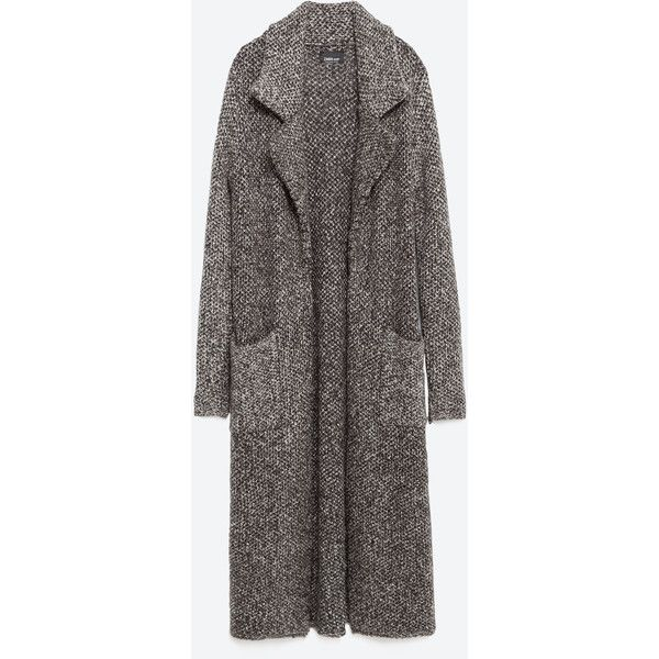 Zara Coat With Large Lapels (8.905 RUB) ❤ liked on Polyvore featuring outerwear, coats, grey marl, gray coat, lapel coat, zara coat and grey coat