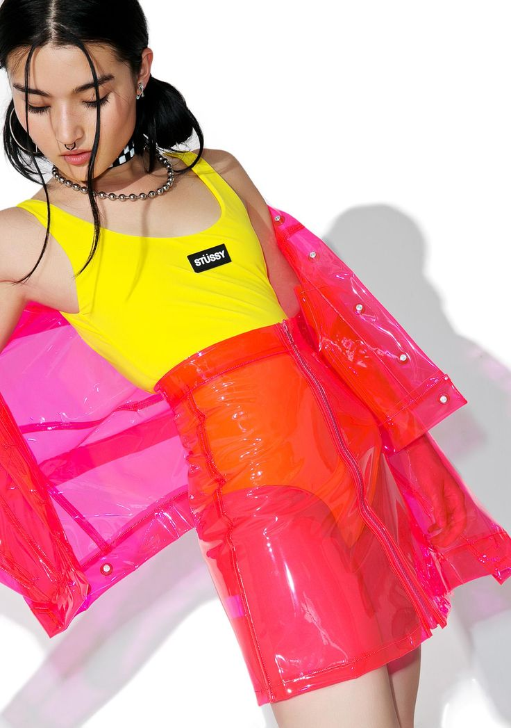 Brashy Crystalline Pink Transparent High Waisted Skirt yer like, sooo transparent...Keep it crystal clear in this neon pink skirt featuring a totally see-thru construction in PVC, high-waist fit, A-line cut and zip-front closure.