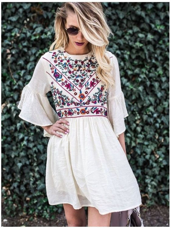 **** Stitch Fix 2017 Summer inspiration! Obsessed with the embroidery trend this season. In LOVE with this gorgeous embroidered baby doll dress. Beautiful boho style. Get styles just like these from Stitch Fix today! Simply click the picture to get started, fill out your style profile and request items just like these. Who doesn't want their own personal stylist to take the work out of shopping? It's like Christmas every month! Try it today!! #sponsored #StitchFix