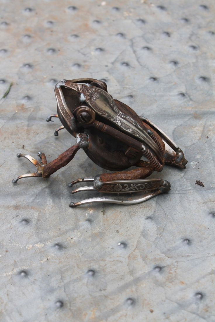 Recycled Scrap Metal Sculpture of a Frog , Reclaimed Metal, Repurposed Metal, Unique Art, Welded Steel Art, Garden Art by GreenHandSculpture on Etsy https://www.etsy.com/listing/182535955/recycled-scrap-metal-sculpture-of-a-frog